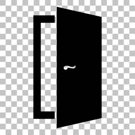 door sign: Door sign illustration. Flat style black icon on transparent background. Illustration