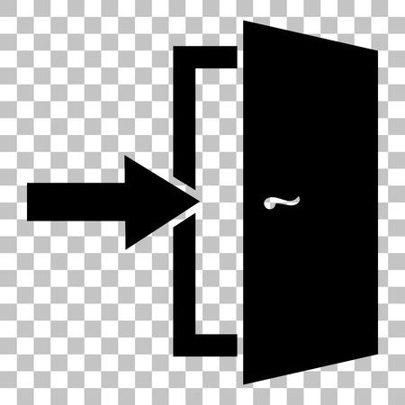 cerrar la puerta: Señal de salida de la puerta. estilo plano icono negro sobre fondo transparente. Vectores