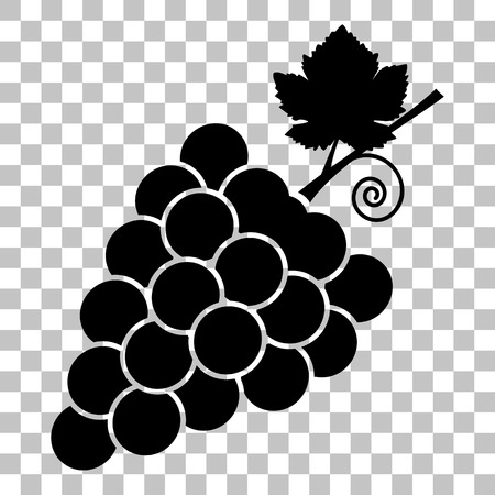 grapes on vine: Grapes sign illustration. Flat style black icon on transparent background.
