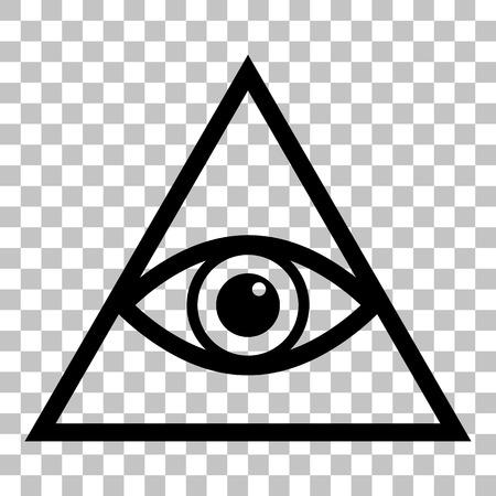 Todo lo ve símbolo de la pirámide del ojo. Masón y espiritual. estilo plano icono negro sobre fondo transparente. Ilustración de vector
