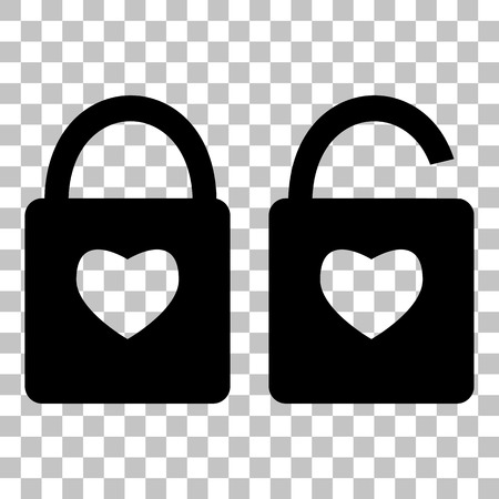 secret love: lock sign with heart shape. A simple silhouette of the lock. Shape of a heart. Flat style black icon on transparent background.