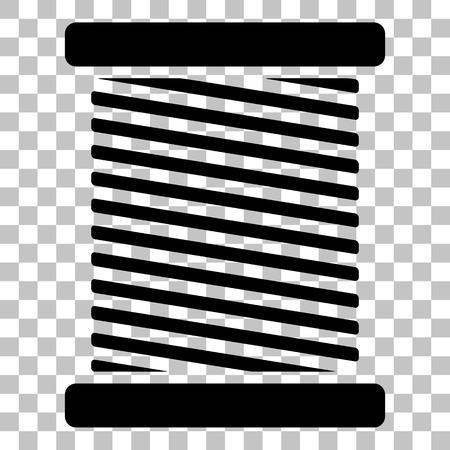 스레드 기호 그림입니다. 투명 한 배경에 플랫 스타일 검은 아이콘.