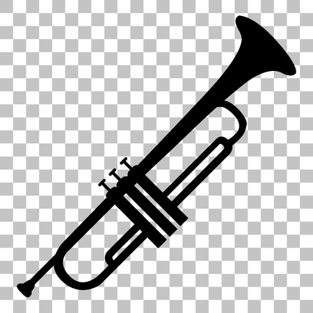 Musical instrument Trumpet sign. Flat style black icon on transparent background.