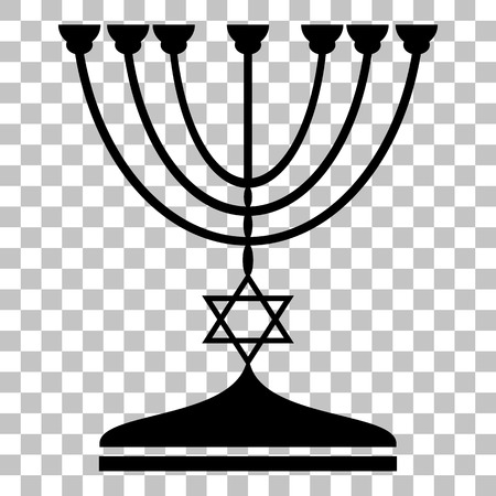 candlestick: Jewish Menorah candlestick in black silhouette. Flat style black icon on transparent background.