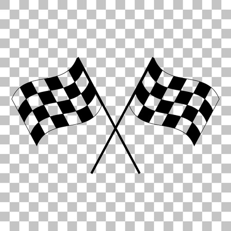 crossed checkered flags: Crossed checkered flags logo waving in the wind conceptual of motor sport. Flat style black icon on transparent background.