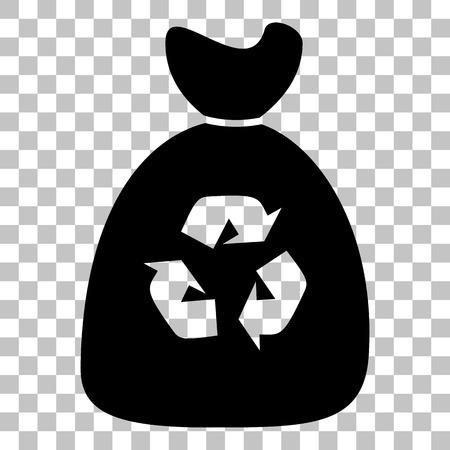 segregate: Trash bag icon. Flat style black icon on transparent background.
