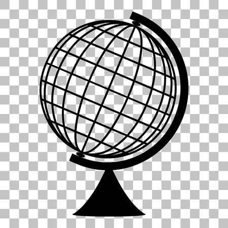 globe  the terrestrial ball: Earth Globe sign. Flat style black icon on transparent background.