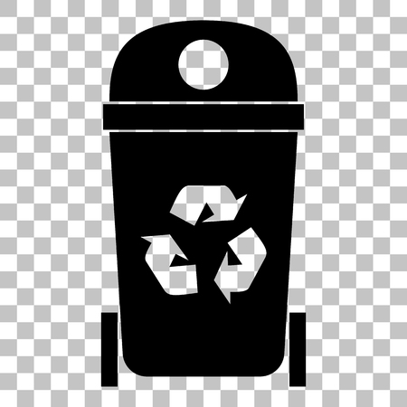 trashcan: Trashcan sign illustration. Flat style black icon on transparent background.