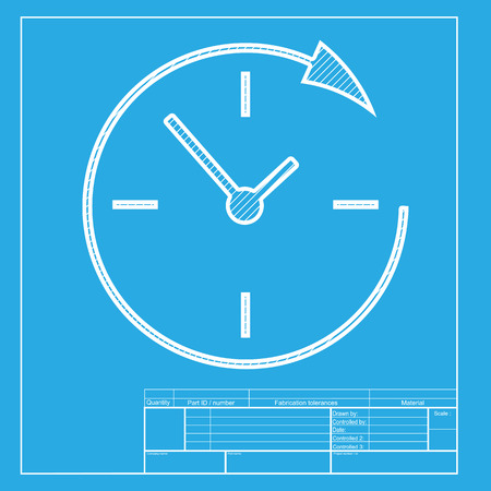 Service and support for customers around the clock and 24 hours. White section of icon on blueprint template.