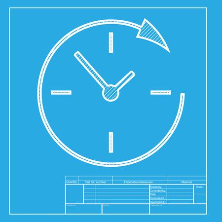 Service en ondersteuning voor klanten de klok rond en 24 uur. White deel van het pictogram op blauwdruk template.