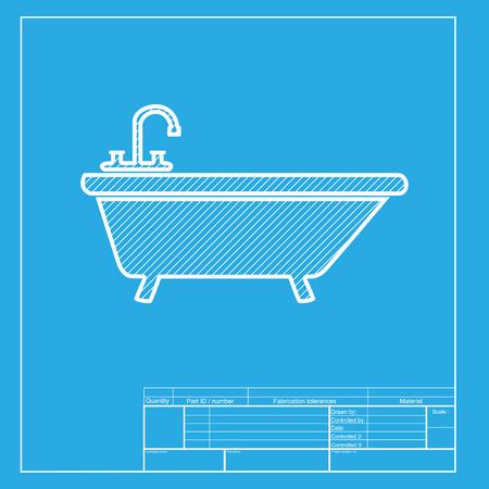 bathtub: Bathtub sign illustration. White section of icon on blueprint template.