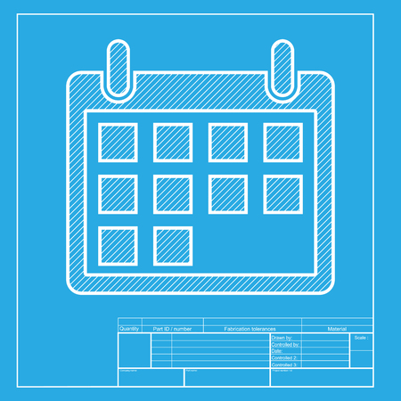 shiny icon: Calendar sign illustration. White section of icon on blueprint template.