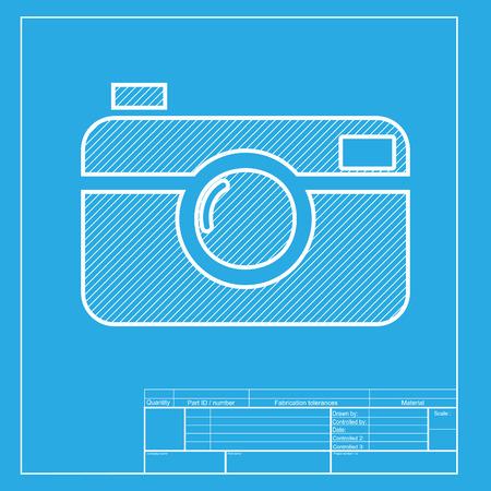 Digitaal fotocamerateken. Witte gedeelte van pictogram op blauwdruksjabloon.