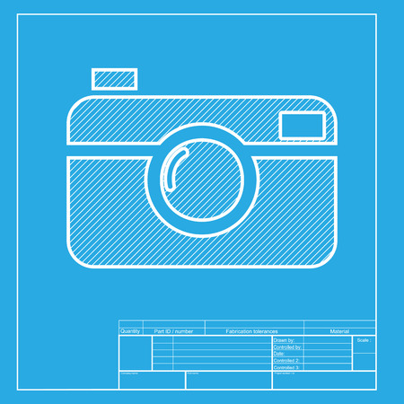 whim: Digital photo camera sign. White section of icon on blueprint template. Illustration