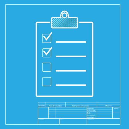 conformity: Checklist sign illustration. White section of icon on blueprint template. Illustration
