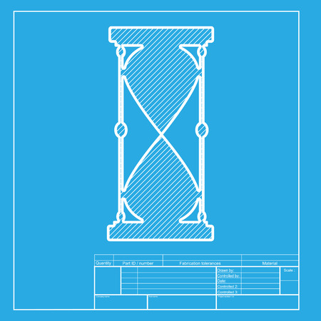 metering: Hourglass sign illustration. White section of icon on blueprint template. Illustration