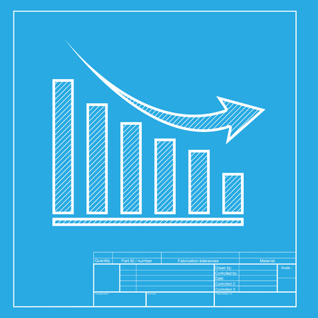 sales trend: Declining graph sign. White section of icon on blueprint template. Illustration