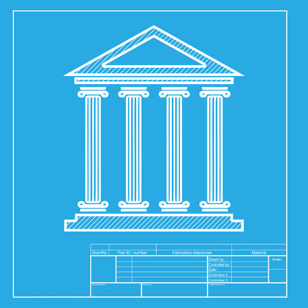 historical building: Historical building illustration. White section of icon on blueprint template.