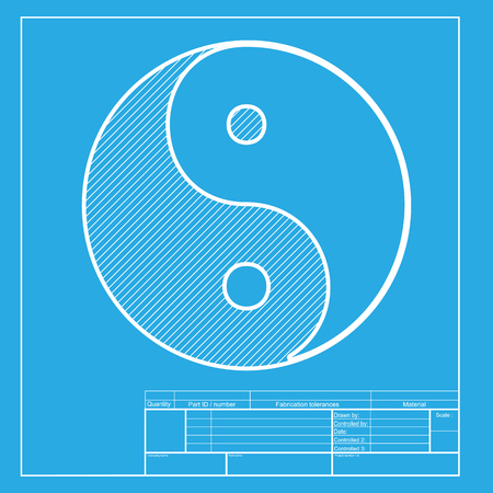 daoism: Ying yang symbol of harmony and balance. White section of icon on blueprint template.