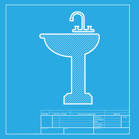 necessity: Bathroom sink sign. White section of icon on blueprint template. Illustration