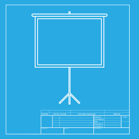 projection screen: Blank Projection screen. White section of icon on blueprint template.