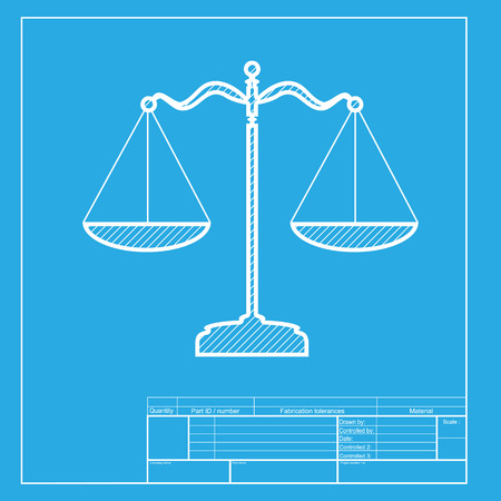 punishment: Scales balance sign. White section of icon on blueprint template.