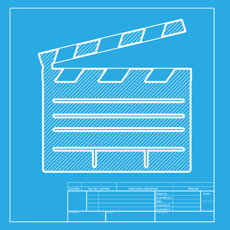 clap board: Film clap board cinema sign. White section of icon on blueprint template. Illustration