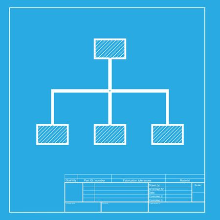 site map: Site map sign. White section of icon on blueprint template. Illustration