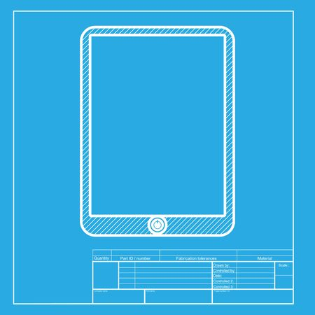 touch sensitive: Computer tablet sign. White section of icon on blueprint template.