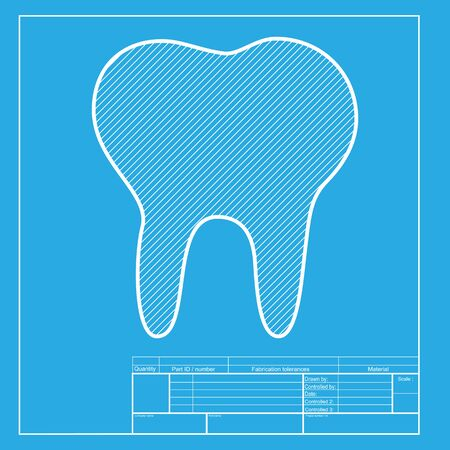 toothcare: Tooth sign illustration. White section of icon on blueprint template.