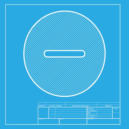 minus sign: Negative symbol illustration. Minus sign. White section of icon on blueprint template. Illustration