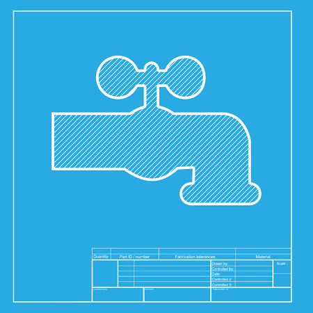 water faucet: Water faucet sign illustration. White section of icon on blueprint template. Illustration