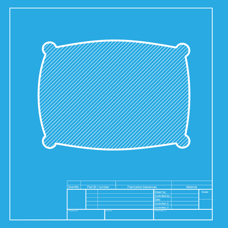 cushioned: Pillow sign illustration. White section of icon on blueprint template.