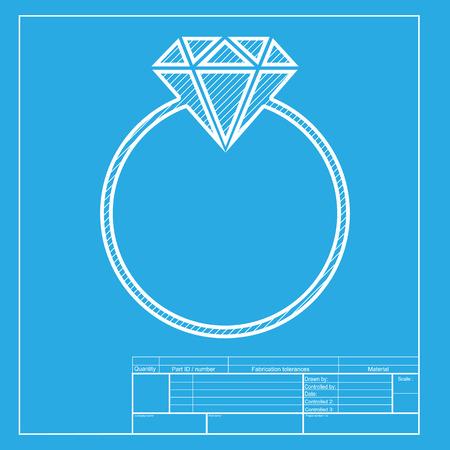 spoil: Diamond sign illustration. White section of icon on blueprint template. Illustration