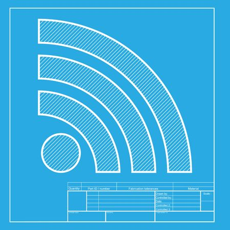 rss sign: RSS sign illustration. White section of icon on blueprint template.