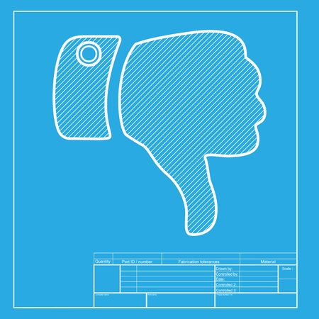 disapprove: Hand sign illustration. White section of icon on blueprint template.