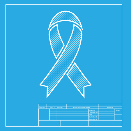 substance abuse awareness: Black awareness ribbon sign. White section of icon on blueprint template. Illustration