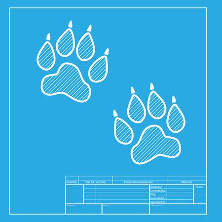huellas de animales: Pistas animales firman. secci�n blanca del icono en la plantilla modelo.