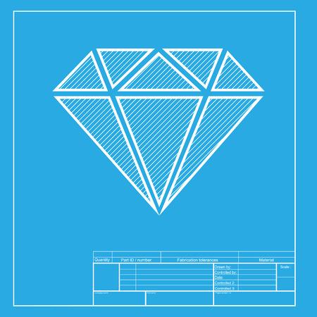 Diamond sign illustration. White section of icon on blueprint template. Illustration