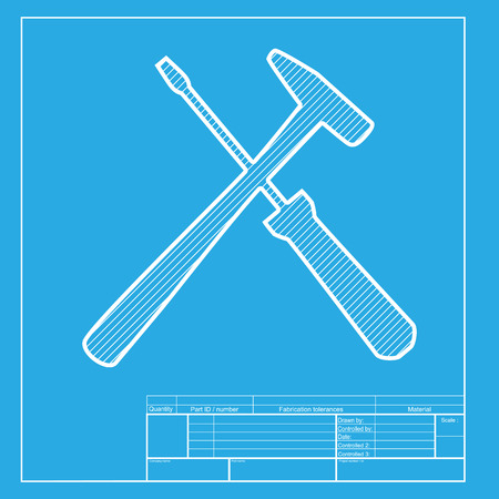 Tools sign illustration. White section of icon on blueprint template.