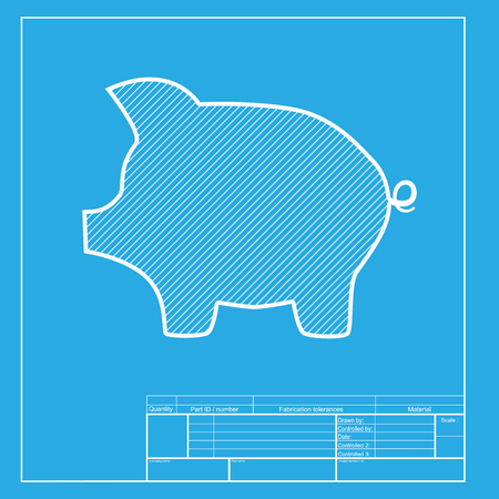moneyed: Pig money bank sign. White section of icon on blueprint template.