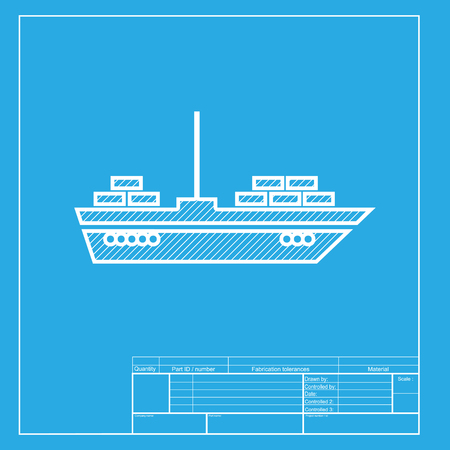 inflate boat: Ship sign illustration. White section of icon on blueprint template.