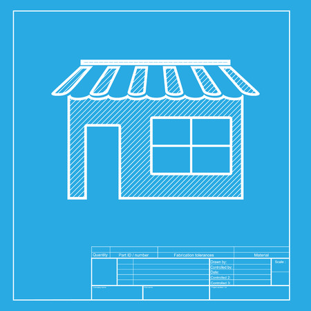 outdoor goods: Store sign illustration. White section of icon on blueprint template.