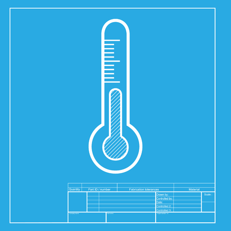 meteo: Meteo diagnostic technology thermometer sign. White section of icon on blueprint template.