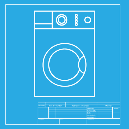 major household appliance: Washing machine sign. White section of icon on blueprint template.