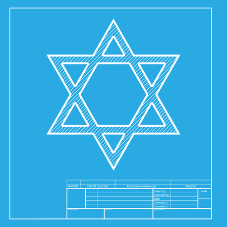 shalom: Shield Magen David Star. Symbol of Israel. White section of icon on blueprint template. Illustration