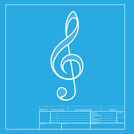 bass: Music violin clef sign. G-clef. Treble clef. White section of icon on blueprint template.