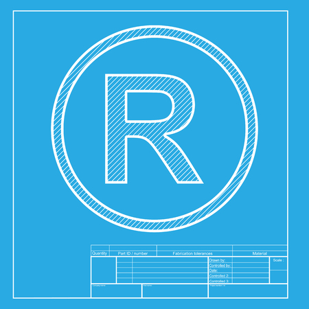 duplication: Registered Trademark sign. White section of icon on blueprint template.