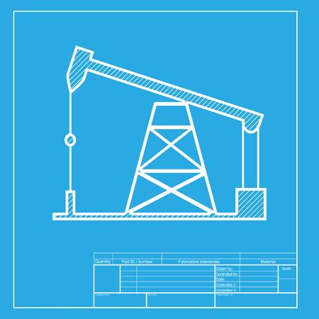 drilling rig: Oil drilling rig sign. White section of icon on blueprint template.