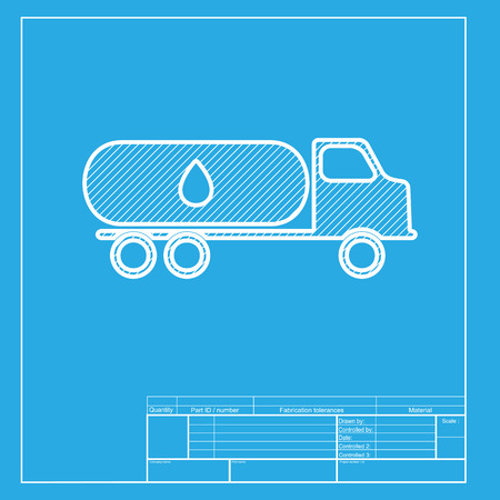 toxic substances: Car transports Oil sign. White section of icon on blueprint template. Illustration